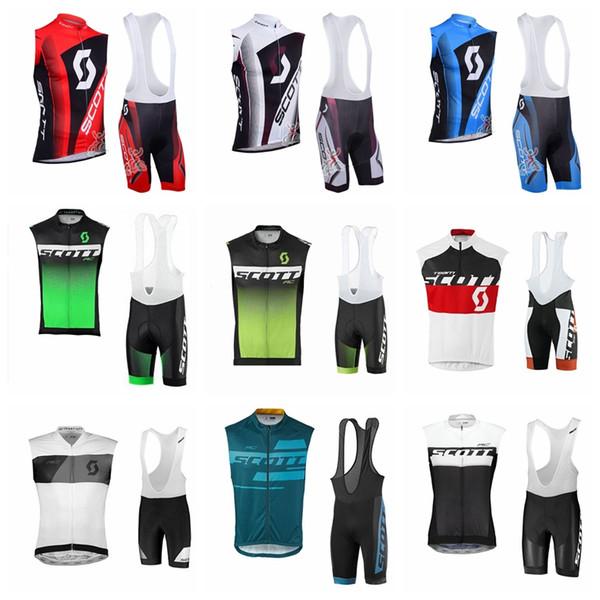 Equipo SCOTT Ciclismo Jersey sin mangas Chaleco pantalones cortos de babero conjuntos Verano de los hombres Cómodos a prueba de viento transpirable conjunto de jerseys deportivos al aire libre S6102