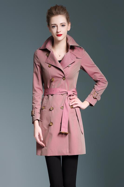 New women long trench coat jacket fashion hot sale pink Double Breasted Coat Jackets Trench Coats Wear Dresses Blouses Shirts T-shirts