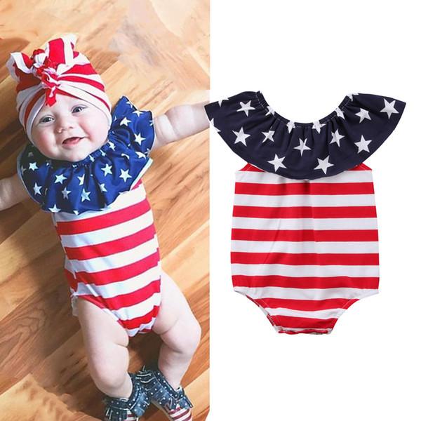 Ins sıcak satmak bebek tulum bağımsızlık Gün 4th temmuz yaz yıldız baskı tulum ücretsiz kargo