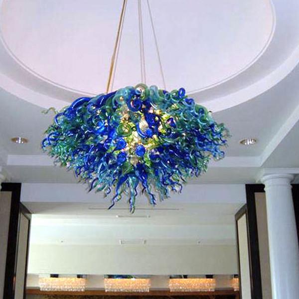 Modern Blue LED 100% Hand Blown Glass Ceiling Chandelier Light Art Luxury Murano Design For Livingroom and Bedroom Pendant Lamps