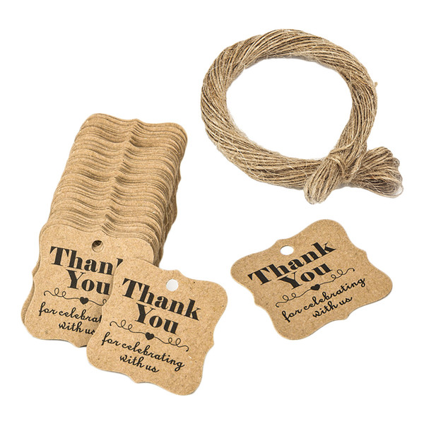 100Pcs 30mm Thank You Tags Cards Kraft Paper Tags Label Price Tag Wedding Party Name Card Gift Tags Kraft Hanging Tag With String Wedding party Favor Tags,Wedding party Favor Tags