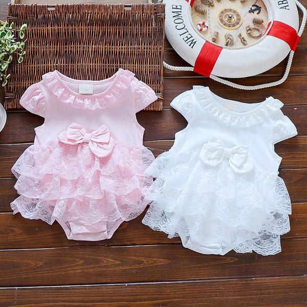 Summer Infant Girls Princess Dress Baby Christening Baptism Gown Party Wedding 0-3 3-6 6-9 Months Bodysuit Q190520
