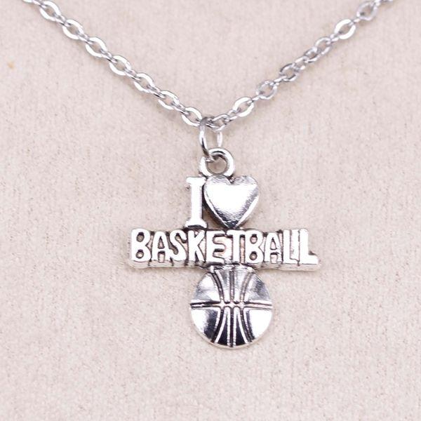 New Fashion Tibetan Silver Pendant i love basketball 21*20mm Choker Charm Short Long DIY Necklace Factory Price Handmade Jewelry