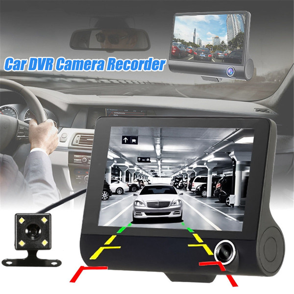 4 Inch HD 1080P 3 Lens Car DVR Motion Detection & Parking Monitor Dash Cam Vehicle Video Recorder with Rearview Camera
