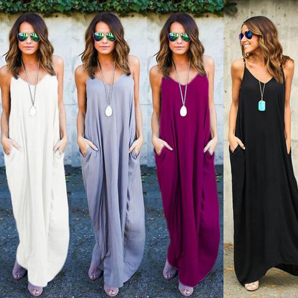 Women Dress Casual Fashion Sundress Sleeveless Strappy Backed Comfortable New Slip Dress 2019 Summer Dresses