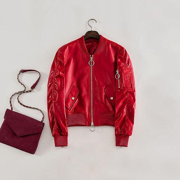 High Fashion Design Real Sheepskin Bomber Jacket Women Spring Black Red Baseball Coat 2019 New Quality Genuine Leather Jacket