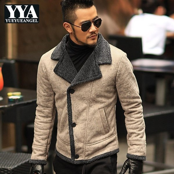 England PU Faux Leather Casual Men Jackets Winter Wool Liner Warm Vintage Cool Moto Motorcycle Outerwears Male Coat Overcoat New