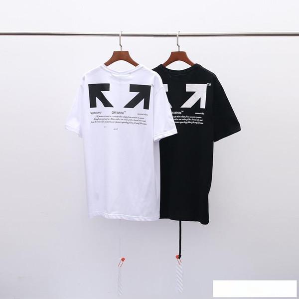 Luxos Designers 100% de Desconto 2019 Verão New chegada dos homens da qualidade superior Roupa Branca T-shirt Imprimir Moda Tees EURO Tamanho S-XL OW020