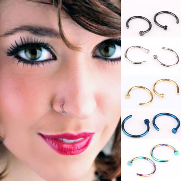 Fashion Stainless Steel Nose Open Hoop Ring Earring C type Piercing Studs Nose Body Jewelry Black Silver Gold Blue Multi-color
