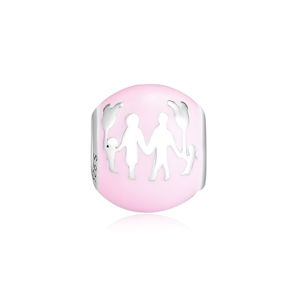 2019 Spring 925 Sterling Silver Jewelry Pink Castle and Family Charm Beads Fits Pandora Bracelets Necklace For Women DIY Making
