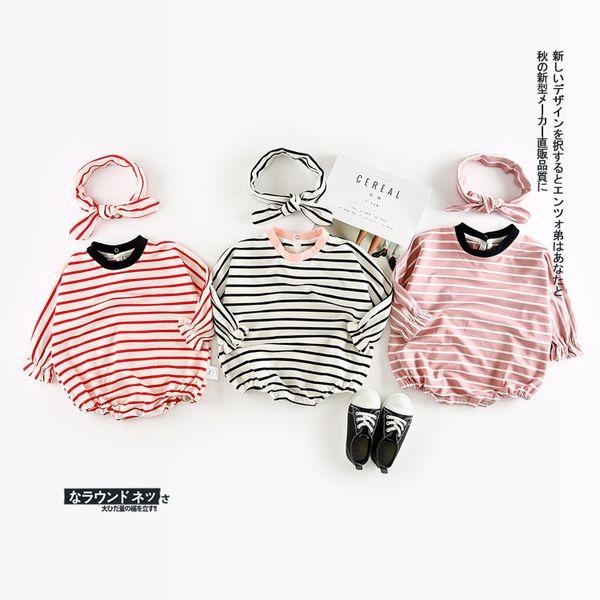 Sonbahar Yeni Varış Pamuk Şerit Tırmanma Pp Bodysuit Harbin Dağıtım Kemer Ile Sevimli Tatlı Bebek Kızlar Ve Erkekler Için Q190520