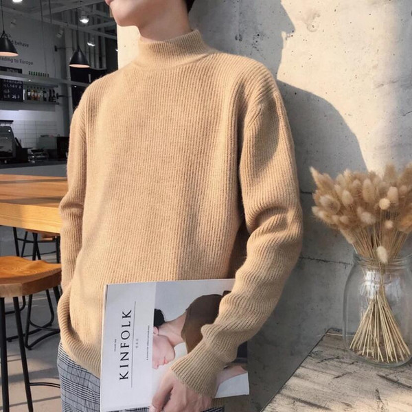 Designer Spring and Autumn Sweater Men Casual Half High Neck Solid Color Sweater in 8 Colors