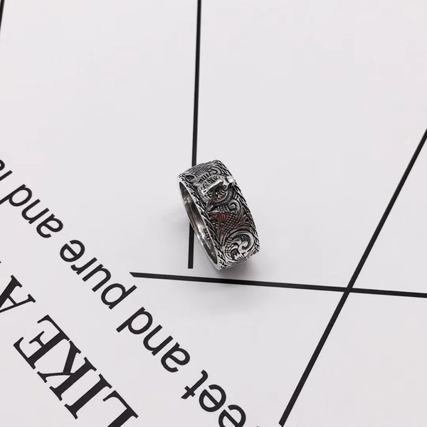 best selling Best Selling Domineering Tiger Head Ring Width 9mm Couple Silver Ring Mens Ring Fashion Jewelry Low Price Supply Wholesale