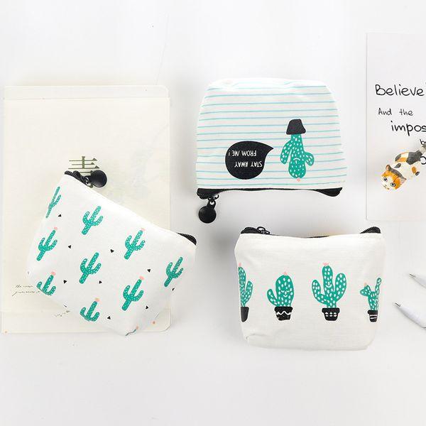 Cactus Pattern Canvas Coin Purses Baby Boys Girl Zipper Bags Kids Cute Mini Print Striped Wallet WWA217