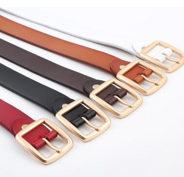 2233 Fashion British style two cowhide casual belt men real cowhide smooth buckle belt youth belt a generation hair