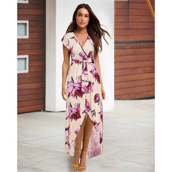 Women Floral Print Short Sleeve Boho Dress Evening Gown Party Long Maxi Dress Summer Beach Sundress Size S-2XL