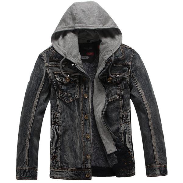 Mens Frühling und Herbst Jacken Mäntel Solid Color Casual-Jacke Männer heißen Verkaufs-Männer Art und Weise Denim Jacke mit Kapuze Jaqueta Masculina