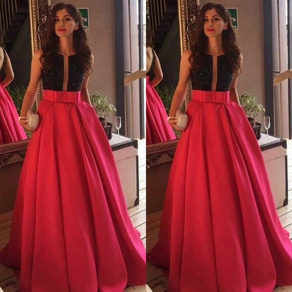 2019 Black and Red Prom Dresses A Line Jewel Neck Sleeveless Sequins Top Backless Floor Length Modest Evening Party Gowns with Bow Sash