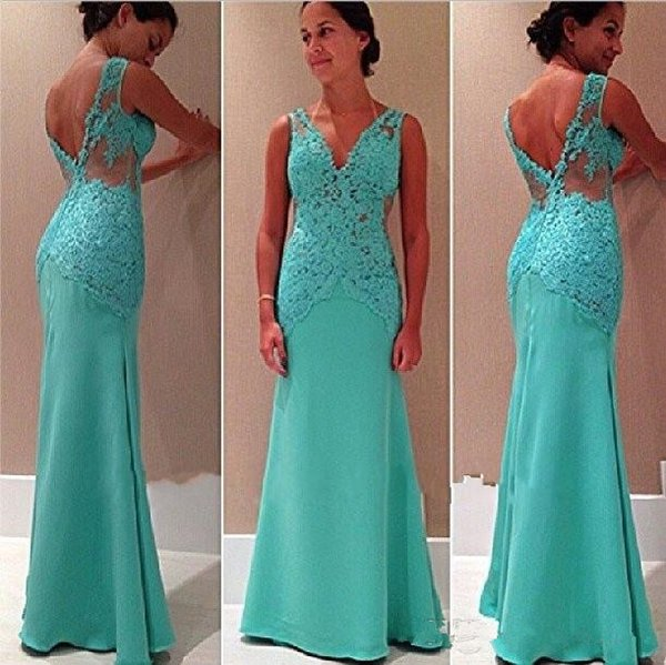 Sexy V Neck Mermaid Prom Dresses Lace Appliques Mint Green Backless Sweep Train Evening Dress Formal Gowns