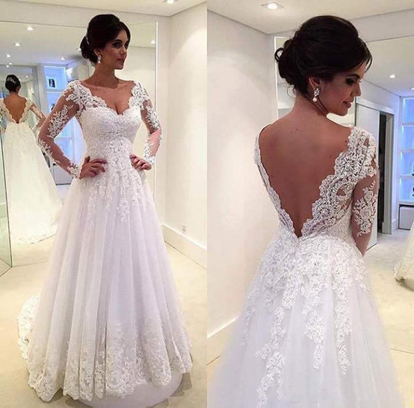 Elegant A Line WEdding Dresses With Lace Appliqued Tulle Floor Length Sexy Backless Long Sleeves Beach Wedding Gown