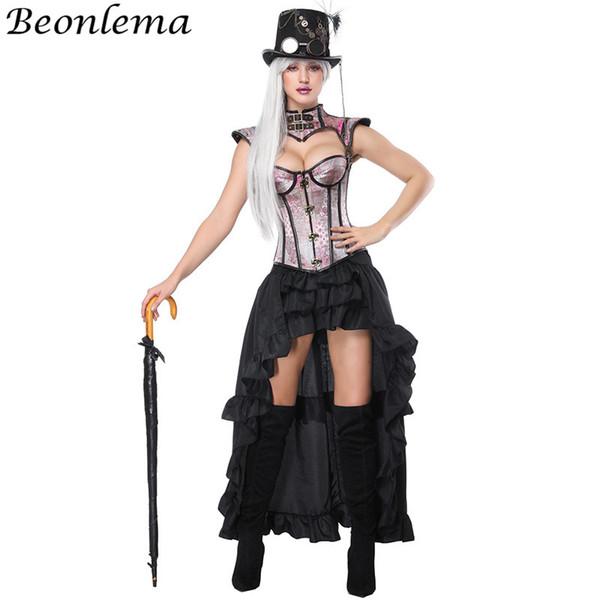 Beonlema Women Cosplay Corset Jacket Blue Buckle Corset Kawaii Pink Bustiers Sexy Bra Black Long Elastic Skirt Overbust Tops