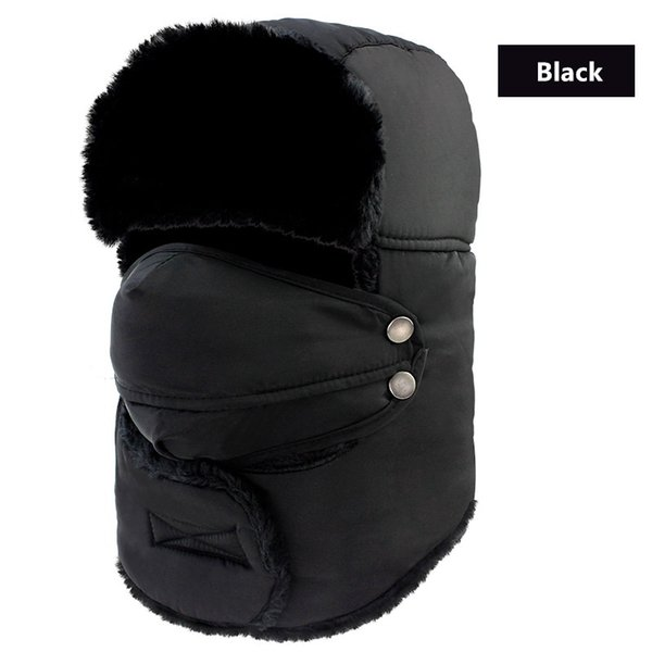 JUN JUN.W Outdoor Windproof Winter Thermal Skiing Hats Lei Feng Hiking Russian Caps With Masks Bomber For Women Men 7 Colors
