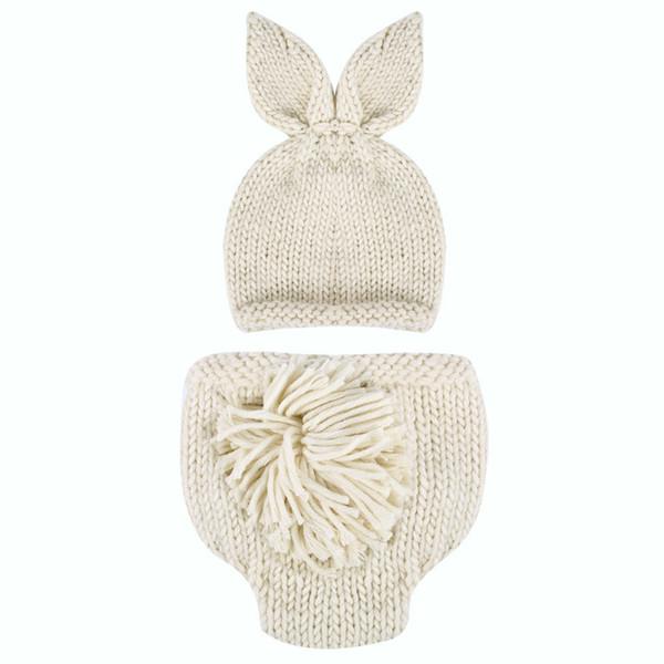 ewborn photography Newborn Photography Baby Photo Props Crochet Knitting Baby Bunny Hat Rabbit Hats and Diaper Beanies and Pants Costum...