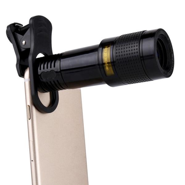 Universal Clip 8x12x 2in1 Lente con zoom de teléfono gran angular y macro Estuche de metal Longitud focal larga Lente externa para smartphone para todos los teléfonos inteligentes PDA