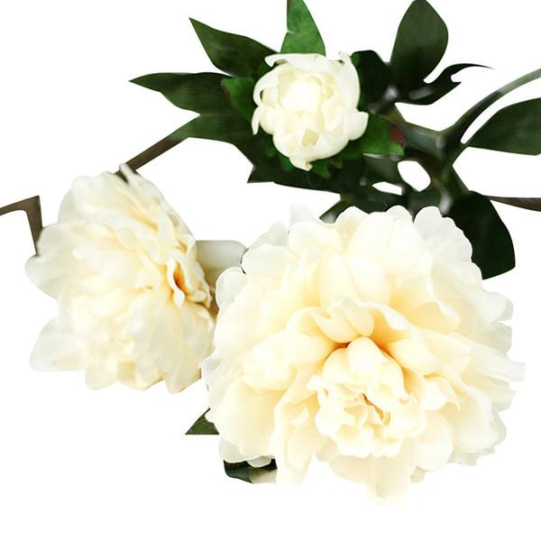 3 цвета Искусственного Шелка Поддельные Цветы Ткань + Пластиковый белый Поддельный цветок Пион Цветочный Свадебный магазин Home Decor flower