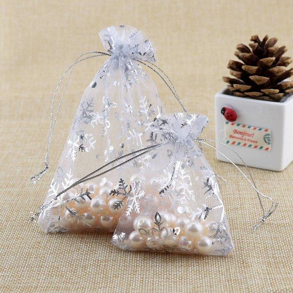 100pcs organze ambalaj kar tanesi iplik torbaları paket cepler süsleme Noel hediyeleri dekorasyon torba kırmızı / beyaz renk tercih ipliğe