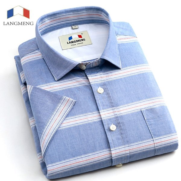 Langmeng 2017 New Arrival Striped Shirt Men dress Shirts short Sleeve Casual Shirt Luxury High Quality China Imported Men Cotton #490551