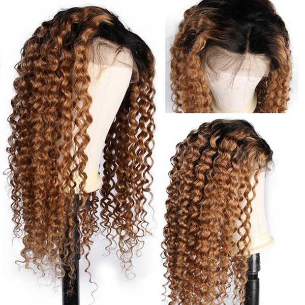1B 27 Color Honey Blonde Lace Front Wig Brazilian Curly Remy Ombre Full Lace Human Hair Wigs Pre Plucked Bleached Knots