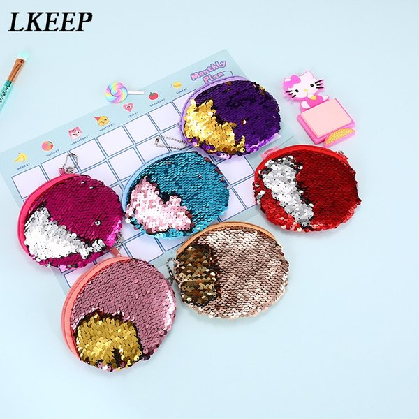 Bling Sequin Double Color Coin Purse Fashion Zipper Round Clutch Earphone Cable Storage Mini Small Keys Bags For Women 2019