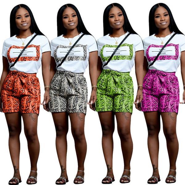 Snake Skin Print Sexy 2 Piece Set Women Designer Outfit Short Sleeve T shirt + snakeskin Shorts Summer Sweat Suit Vintage Match Suit C7505