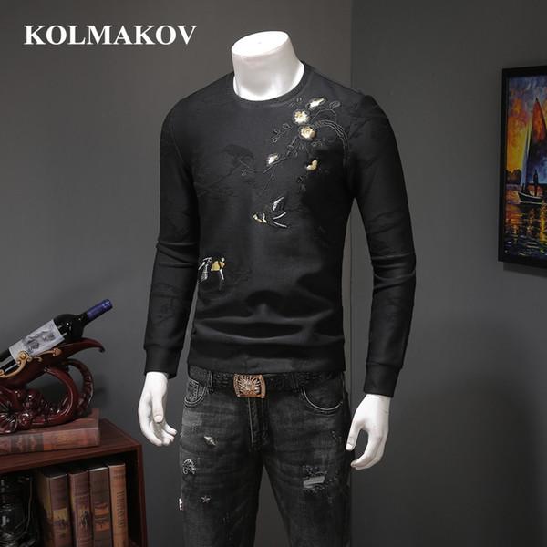 KOLMAKOV New Men' Clothing Men's Black Printed Fleece Pullovers Mens Spring Casual Hoody M-4XL Men O-neck Hoodies Sweatershirts