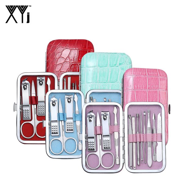XYj 12 in 1 New Arrival Manicure set Nail Clippers Kit File Nail Care Tools Kit Pedicure Manicure Tools with Bright Colored Case