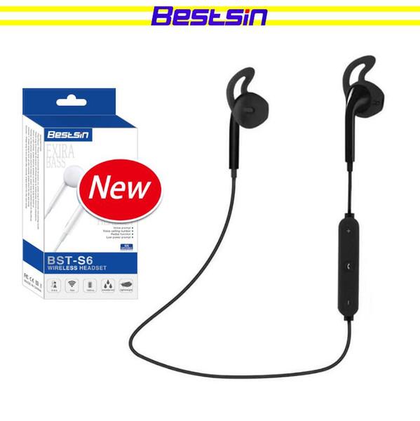 Bestsin Drahtloser Bluetooth Kopfhörer Stereo In-Ear S6 Bluetooth Headset mit Mikrofon Für Telefon Outdoor-Sport Laufen Auriculares bluetoot