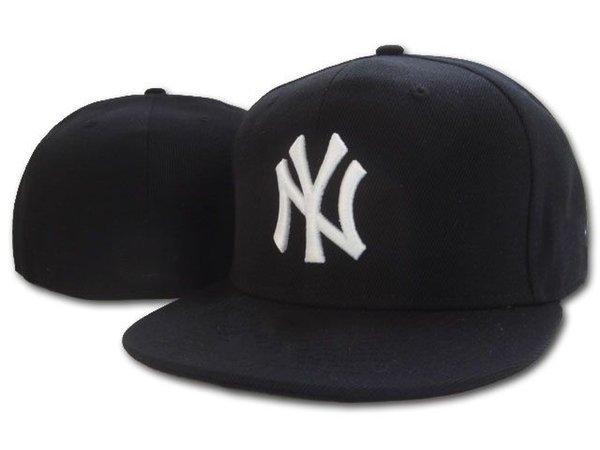 Wholesale Cheap Pirce Top Quality Full Black Color NY Fitted hat in Baseball caps for men and women