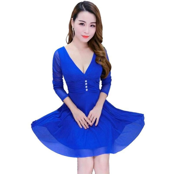 Nightclub Party Dress Europe Us Sexy Girls Deep V Neck Yellow Blue Crystal Beading Three Quarter Sleeve Chiffon Patchwork Lace Pleated