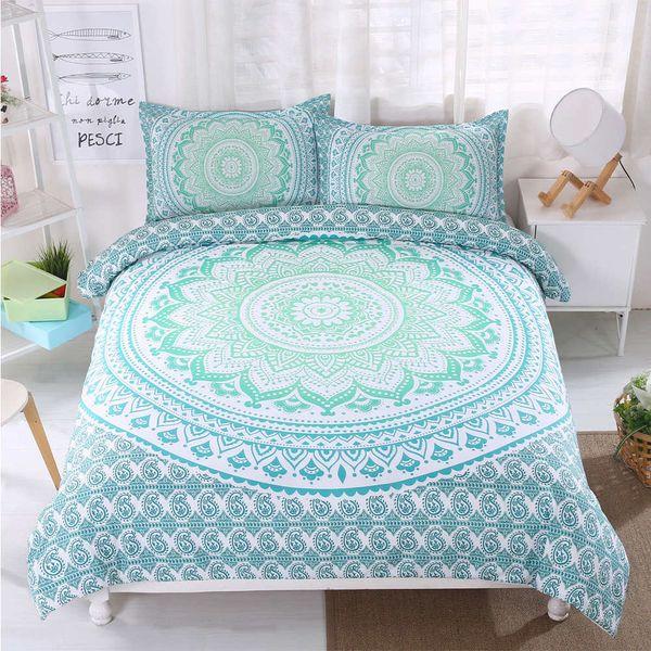 Thumbedding Dropship Green Blue Flowers Bedding Sets Bohemia Design 3D Duvet Cover Set 100% Microfiber Colorful Bed Set