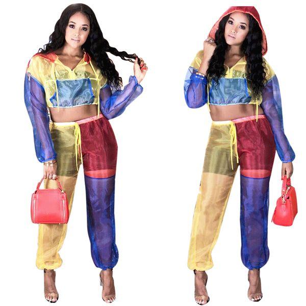 Mesh-Trainingsanzug für Frauen Patchwork Hoodie + Pants Sport Wear 2 PCS Hosen Set Gym Fitness Workout Wear 2019 Mädchen Sexy Durchsichtig Schweiß Anzug