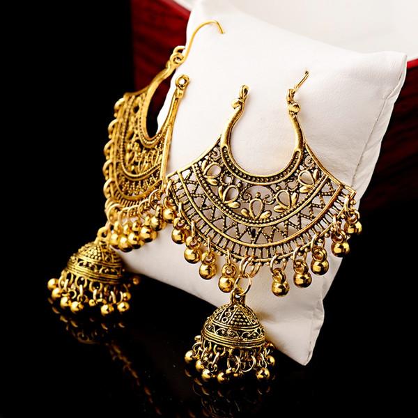 Sector Egypt Vintage Gold Jhumka Jhumki Earrings For Women  Jewelry Boho Bells Tassel Ethnic Turkish Tribal Gypsy Earings