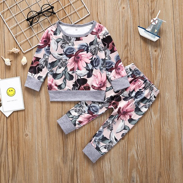 Baby Girls Flower T-Shirts+Pants Outfits Spring Fall 2019 Kids Boutique Clothing Toddlers Girls Long Sleeves Tops 3 PC Set Cute
