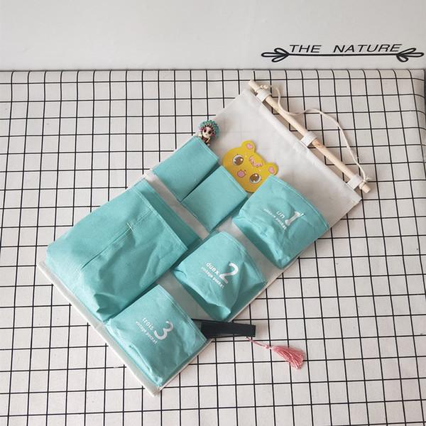 35 * 61cm Multilayer linho 7 Pockets Hanging organizadores Cozinha Casa de banho Diversos saco de armazenamento parede porta guarda-roupa Bag M484