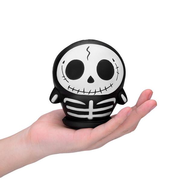 Hot selling black bone doll cute funny human skeleton skull emoji squishies squishy toys reflective soft toy