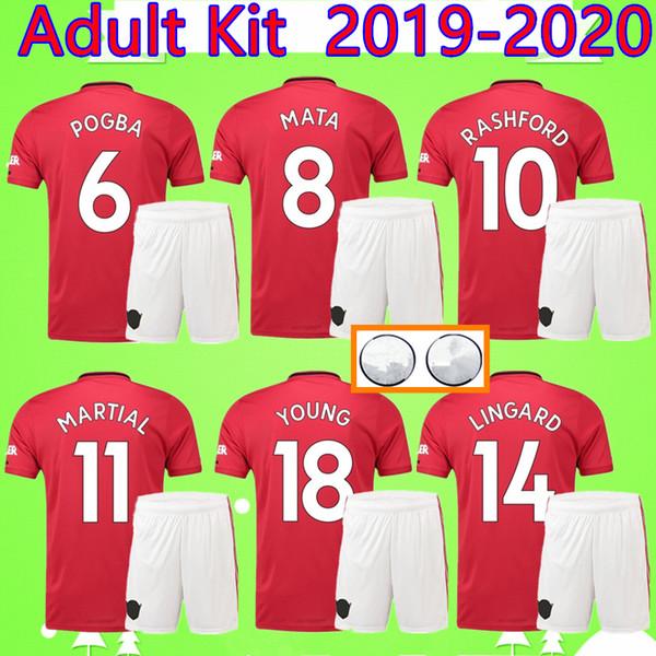 Kit adulte 2019 2020 FC Costume Homme Maillot de foot United SOLSKJAER LINGARD POGBA LUKAKU RASHFORD ALEXIS 19 20 HOMME Set UTD Maillot de foot MATA