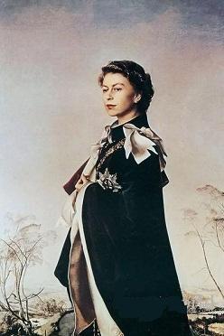 0.5Fm schöne edle Frau Porträt Königin Elizabeth II stehend in Landschaft, handgefertigt / Print Abbildung Wandkunst Ölgemälde auf Leinwand, Multi Größen