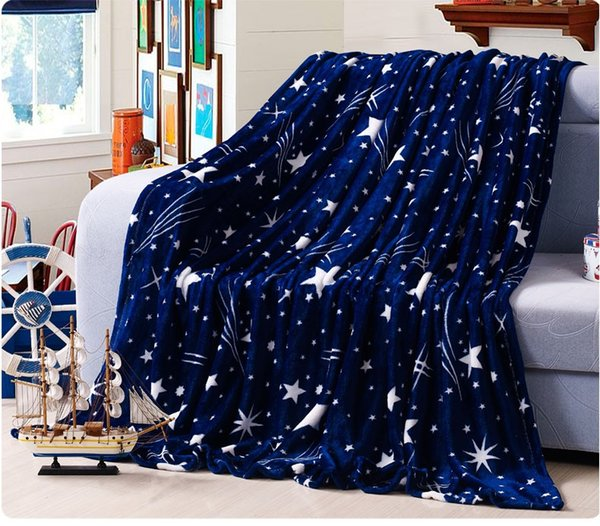 Bright stars bedspread blanke High Density Super Soft Flannel Blanket to on for the sofa/Bed/Car Portable Plaids