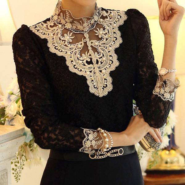 Sonbahar Moda Kadınlar Uzun Kollu Tığ Dantel Bluz Gömlek Yüksek Boyun Zarif Bluz Üstleri Artı Boyutu 3XL