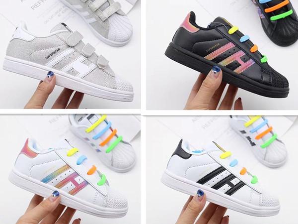 Novas crianças smith crianças sapatos casuais Para o bebê menino menina moda stan Rainbow Laces sapatilha executando trainer sapato bebê presente de aniversário 22-35